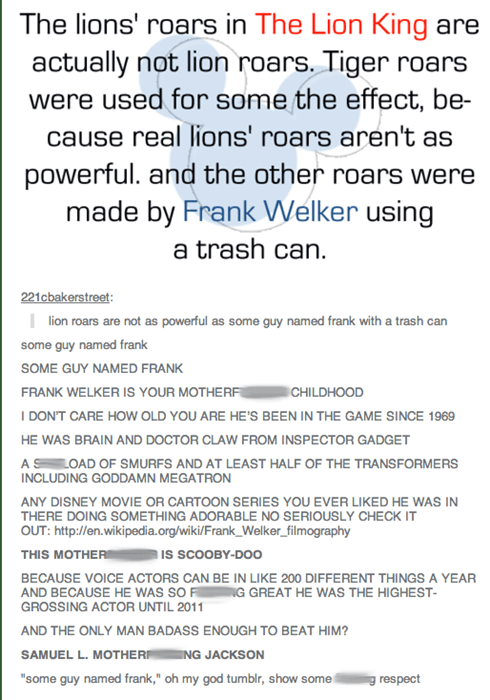 failbook tumblr the lion king frank welker - 8184077312