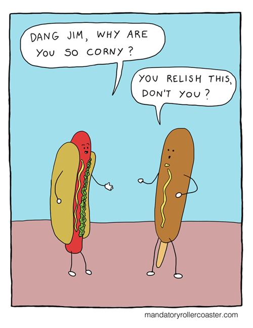 corn dogs puns hot dogs web comics - 8185211136
