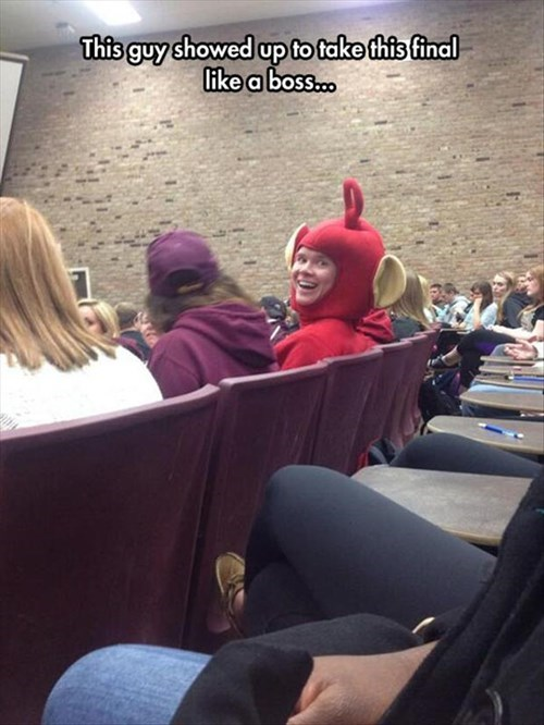 costume,teletubbies,school,finals,poorly dressed,test