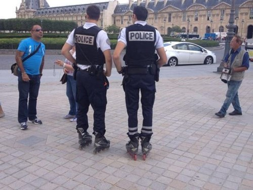 monday thru friday,rollerblades,work,police