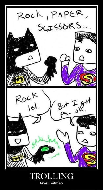 rock paper scissors,batman,funny,superman