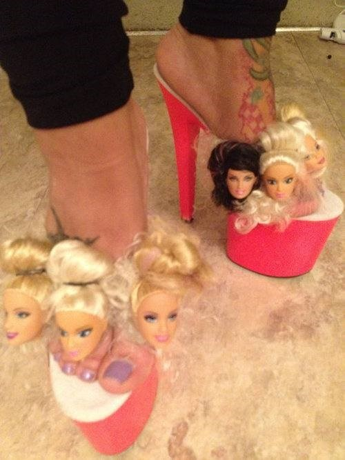 shoes poorly dressed Barbie head doll g rated - 8188383488