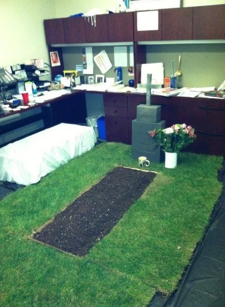 monday thru friday,cubicle prank,prank,grave,cubicle,g rated
