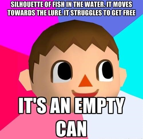 fishing,cans,animal crossing,video game logic
