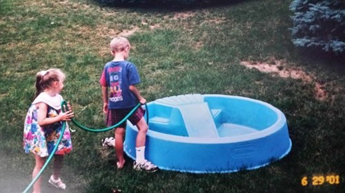 kids,siblings,garden hose,parenting