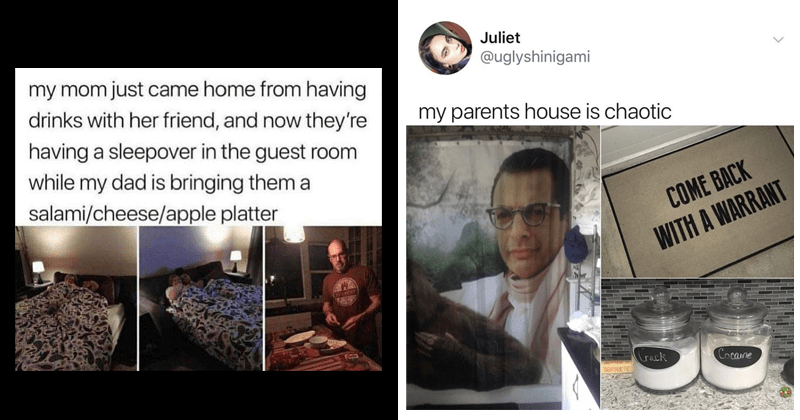 Funny memes and tweets about family, mom, dad, parents, siblings, brother, sister, kids, parenting. | my mom just came home having drinks with her friend, and now they're having sleepover guest room while my dad is bringing them salami/cheese/apple platter | Juliet @uglyshinigami my parents house is chaotic COME BACK WITH WARRANT Crack Cocaine BUTTER