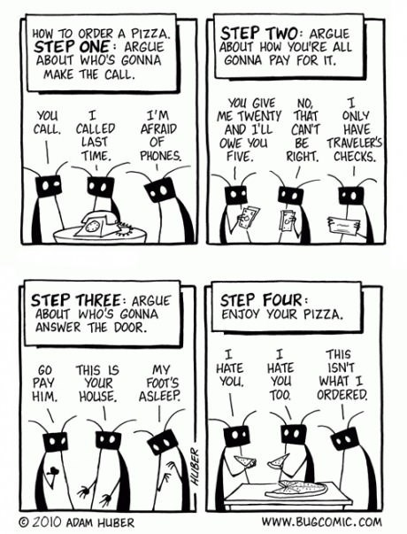 bugs,friends,pizza,web comics