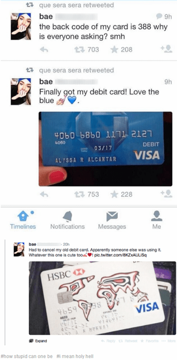 debit card dumb idiots stupidity