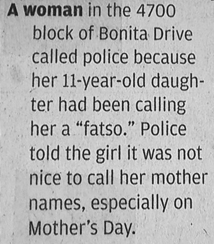 police report,mom,newspaper