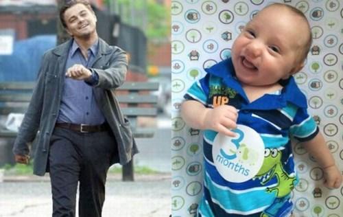 baby leonardo dicaprio strutting leo parenting Memes smile - 8193407488
