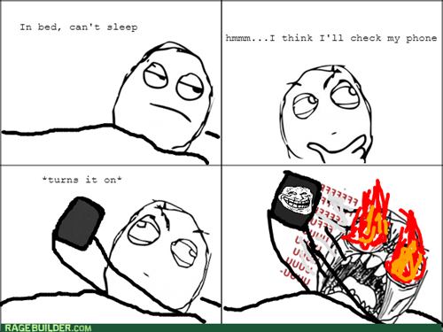 rage,trollface,bed,phone,light