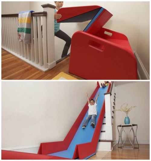 slide kids stairs parenting win