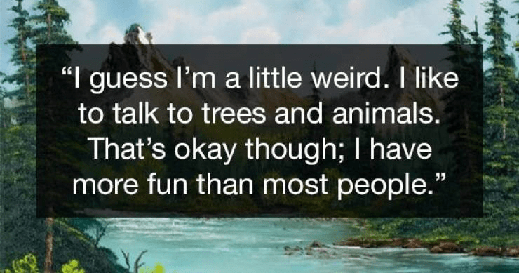 "Wholesome Bob Ross quotes | "" guess l'm little weird like talk trees and animals s okay though have more fun than most people."""