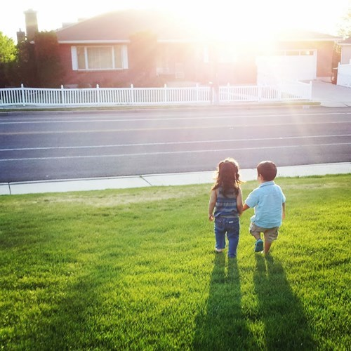 kids parenting holding hands sunset - 8196049920