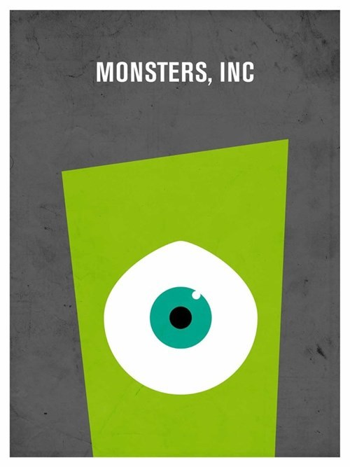 minimalist,disney,movie poster,monsters inc,posters