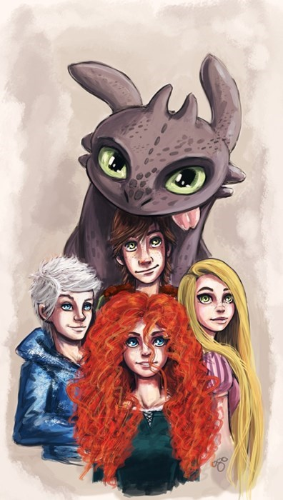 rise of the guardians,crossover,brave,tangled,Fan Art,How to train your dragon