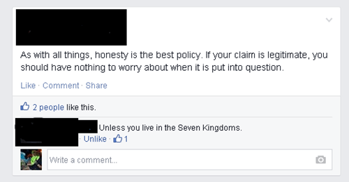 Game of Thrones,honesty