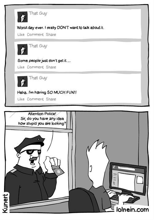 attention,facebook,web comics