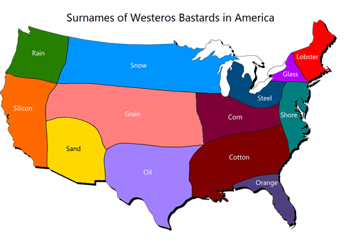 Jon Snow,Game of Thrones,map,america