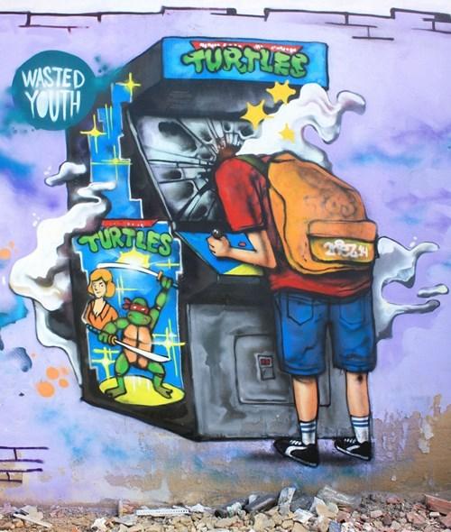 arcade graffiti Street Art hacked irl TMNT - 8197339136