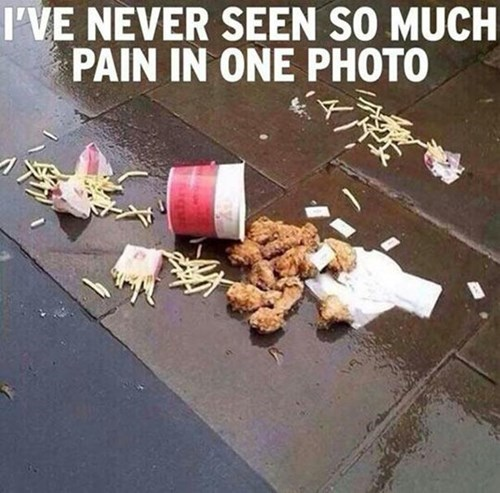 food,fries,chicken,rip in peace,spilled food
