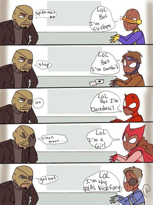 Spiderman just want to enter in the Avengers team