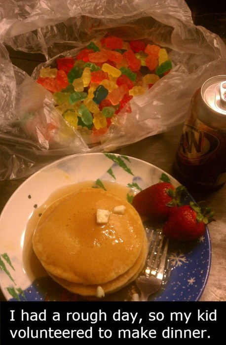 gummy bears kids parenting dinner pancakes