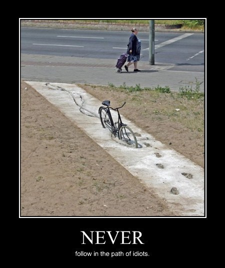 idiots,cement,bike,funny