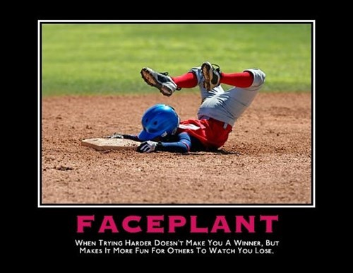 baseball faceplant FAIL funny - 8203593728