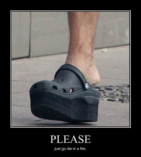 crocs funny no heels scary wtf