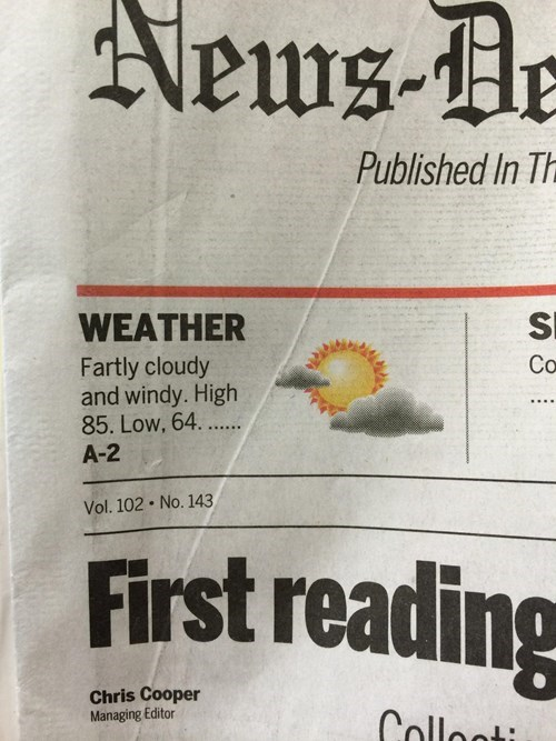 fart headline monday thru friday weather typo g rated