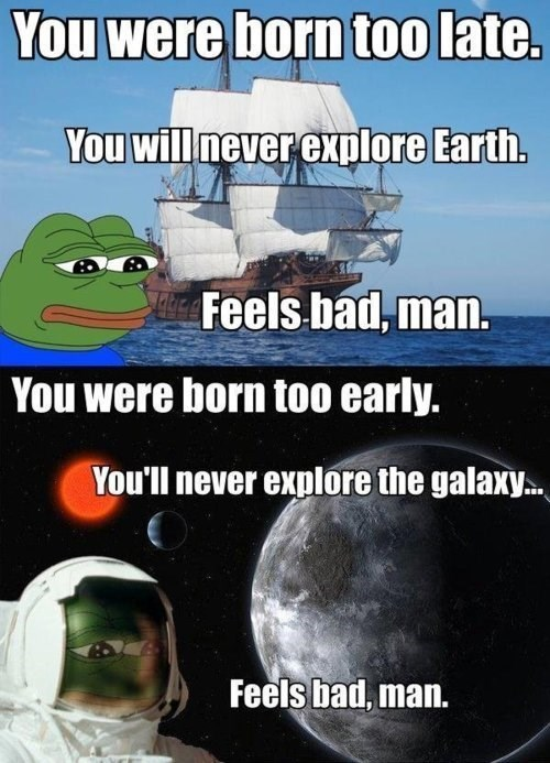 exploration,space,sad frog