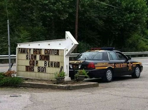 cops sign prank police
