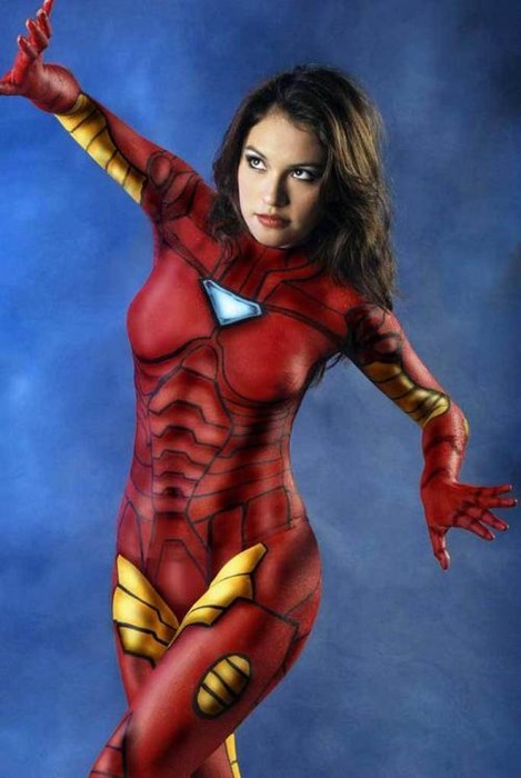 Sexy Ladies cosplay bodypaint iron man - 8205192448