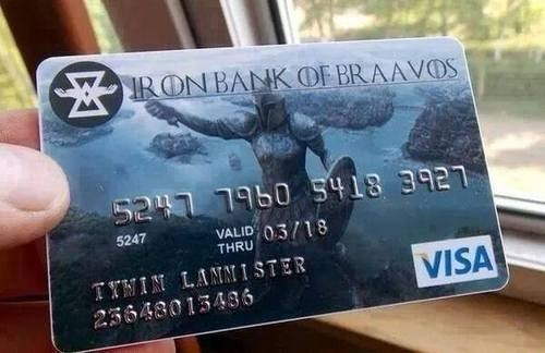 credit card Game of Thrones Braavos - 8207148032