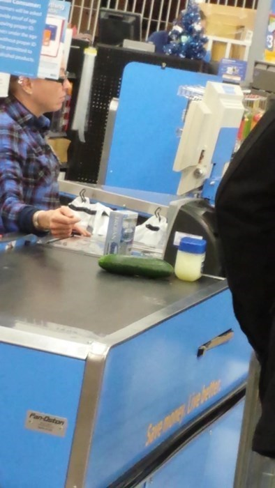 Photo of a person purchasing just 2 items, Vaseline and a cucumber. You figure it out.