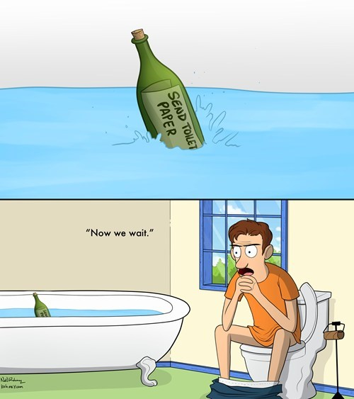 Message In A Bottle toilet paper web comics - 8208892416