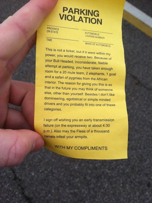 douchebag parkers note parking win - 8209357824