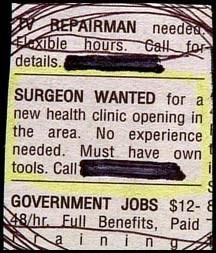 monday thru friday advertisement classified ad job hunt surgery - 8209981184
