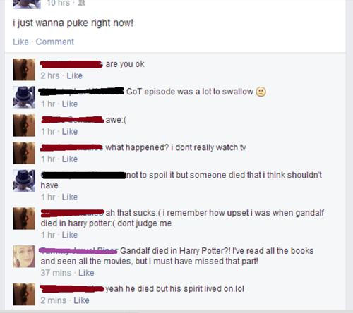 Harry Potter Lord of the Rings Game of Thrones facepalm nerdgasm failbook - 8210256640