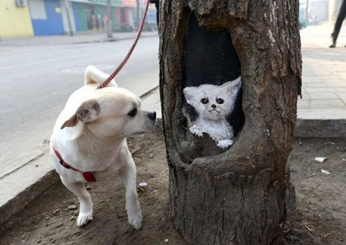 The Dogs Can't Tell Whether or Not This Street Art is the Real Thing