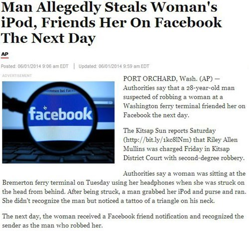 Criminally Dumb Criminal news facebook Probably bad News - 8210339072
