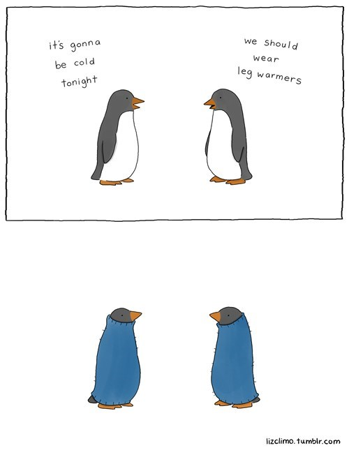 poorly dressed,penguins,comics,leg warmers