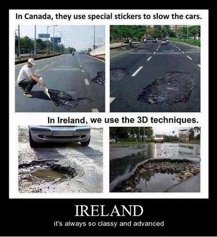 Canada,Ireland,funny,potholes