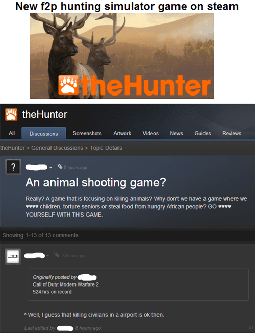 steam,Modern Warfare 3,idiots,hunting,animals