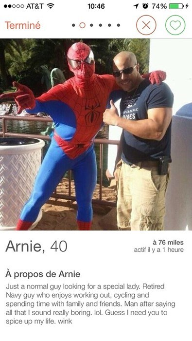 Spider-Man tinder profile pic online dating funny - 8211239936
