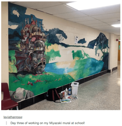 miyazaki mural howls-moving-castle studio ghibli - 8211299328