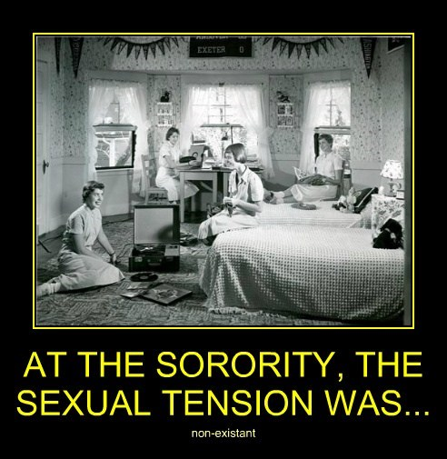 AT THE SORORITY, THE SEXUAL TENSION WAS...