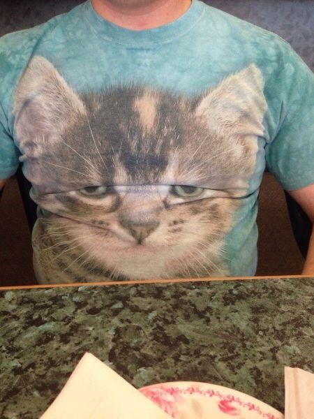 poorly dressed expression wrinkles t shirts Cats - 8212418048