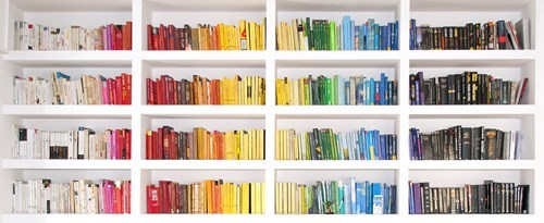 reading is sexy,organization,books,pretty colors